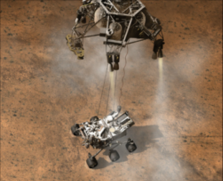 Artist's concept animation depicting the moment that NASA's Curiosity rover touches down onto Mars.