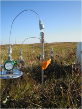 Equipment Ron and her team use to sample greenhouse gases flowing from the land to the atmosphere. They later determine how old the carbon is in these gas samples using carbon-14 dating. Photo: Margaret Torn.