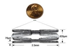 A tiny mouse-sized stent used by Stanford researchers in their mice studies. (Courtesy of Euan Ashley)